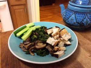 Chicken, Kale, Mushrooms